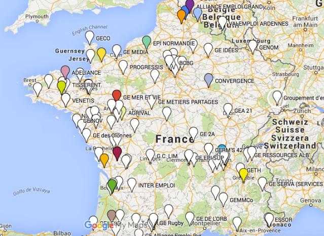 Carte des GE de France